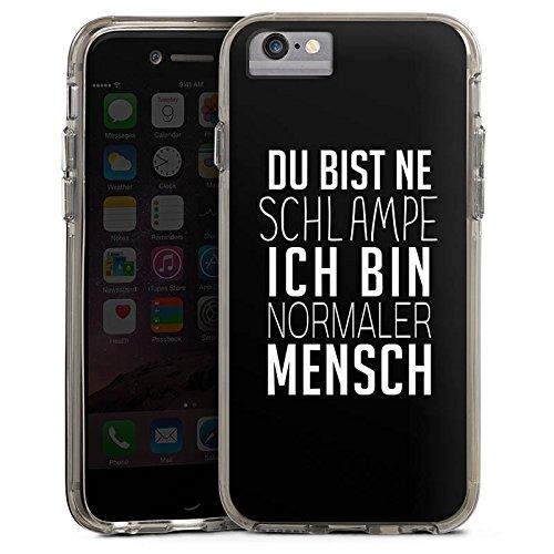 Apple iPhone 6 Plus Bumper Hülle Bumper Case Glitzer Hülle Pietro Lombardi Spruch Statement Bumper Case transparent grau