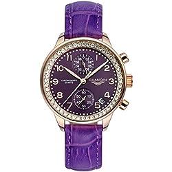 GUANQIN Fashion Formal Brand Women Analogue Waterproof Quartz Stainless Steel and Leather Calendar Chronograph Rhinestone Wrist Watch Simple Design Gold Purple