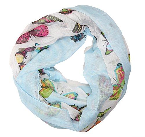 MANUMAR Loop-Schal für Damen | Hals-Tuch in Blau mit Schmetterling Motiv als perfektes Frühling Sommer Accessoire | Schlauchschal | Damen-Schal | Rundschal | Geschenkidee für Frauen und Mädchen