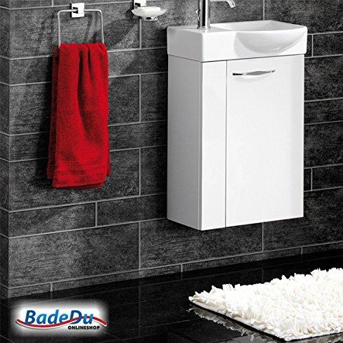 Fackelmann SCENO Badmöbel Set Gäste-WC Farbe Weiß/Weiß (2-teilig) - Waschbecken rechts