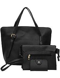 Tomtopp 4pcs/Set Fashion Women Solid Color PU Handbag+Shoulder Bag+Clutch+Card Bag