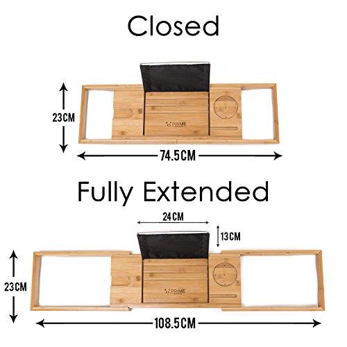 Premium Badewannenablage mit Buchstütze und Glashalter von Prime Art Wood | Badewannenbrett aus naturbraunem Bambus zum Ausziehen 74,5-108,5x23cm | inkl. GRATIS Seifenablage - 4