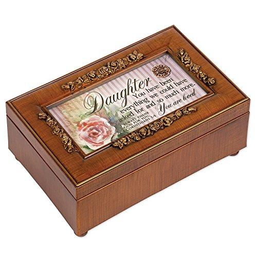 Cottage Garden Daughter Woodgrain Petite Rose Music Box / Jewelry Box Plays Amazing Grace (Box Music Rose)