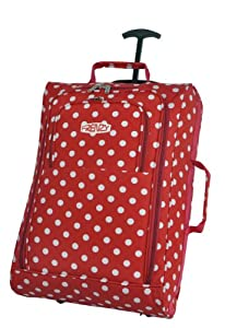 Frenzy/5Cities Lightweight Hand Luggage Bag - Approved Ryanair 2 Wheeled Cabin Baggage. 42L Travel Suitcase Holdall Includes Padlock! (Red Polka Dot)