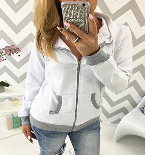 Rcool Frauen Reißverschluss Tops Baumwolle gemischt Hoodie solide Kapuzenpullover Hooded Sweatshirt Jacke Jacket Weiß