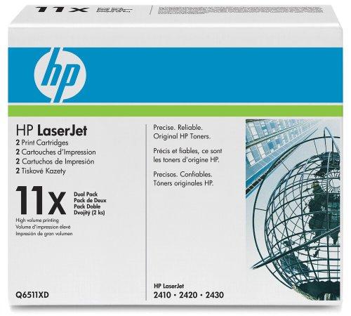 Hewlett Packard Toner 11X für LaserJet 2420 / 2430, XL Doppelpack, 12000 Seiten Q6511XD, schwarz