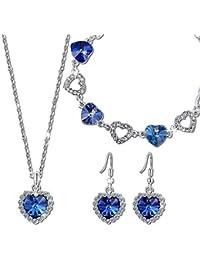 Kami Idea ❤Regalos San Valentin❤ Mujer Conjunto de Joyas Collar Pendientes Pulsera Amor Azul Chapado en Oro Blanco Cristales de Swarovski, Libre de Alergias, con Delicadas Joyero