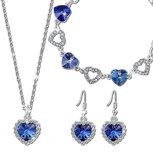 Kami idea regali san valentino donna set di gioielli collana orecchini a goccia a buco braccialetto blu placcato in oro bianco cristalli di swarovski gioielli per natale anniversario mamma lei madre