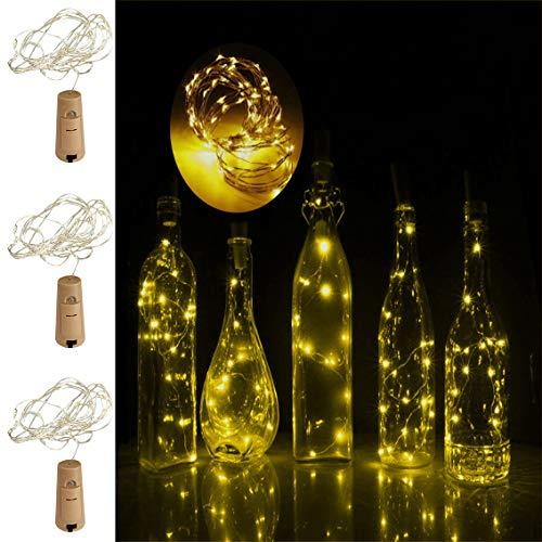 Weinflaschen-Lichterkette mit Kork, batteriebetrieben, blinkende Lichterkette für Flasche, Party, Hochzeit, Innenbereich, Außendekoration, 16,5 m LED-Korkform, Kupferdraht