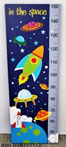 Weltall Rakete Messlatte Kindermessstab Bild Leinwand 40 x 113 cm Kinderzimmer