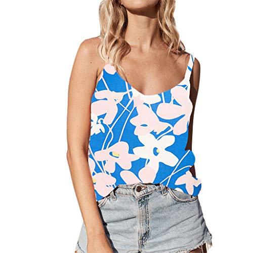 Zegeey Damen Tops Blumendruck Camis ÄRmellos V-Ausschnitt Sommer Sling Weste Oberteil Bluse Pullover Hemd Tank Top Shitrs(Blau,EU-40/CN-XL) -