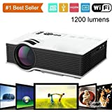 Happy Club Presents LED Wifi Projector For Home, Office And Schools/ 1200Lumens, 2.4G WIFI Mini Projector / High Resolution 1080P 800x480 Projector/ Portable Wifi Projector/ Compact Size Projector/ Projector With Inbuilt Speaker/ Home Theater LED Projecto