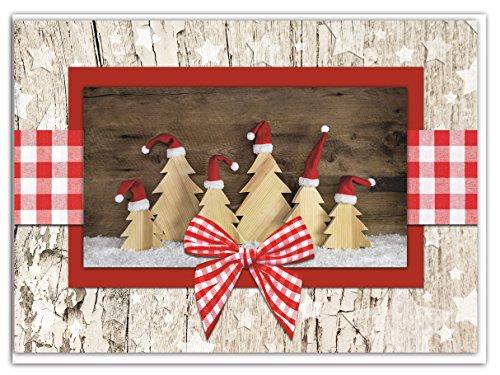 Set 3pezzi rosso bianco a scacchi albero di natale alberi di natale carte naturalmente foto di motivi effetto legno con busta senza testo biglietti in doppia copertura biglietti natalizi
