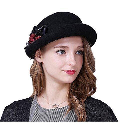 Chapeau Casquette Chapeaux Melon Femmes Filles Hivernal Fleur Feutre Noir