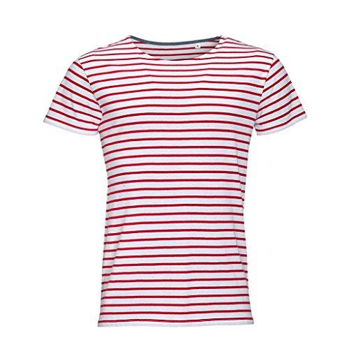 SOLS Miles - T-shirt rayé à manches courtes - Homme (3XL) (Blanc/Bleu marine)
