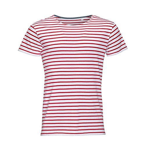 SOLS Herren Miles T-Shirt, gestreift, kurzärmlig (M) (Weiß/Rot) -