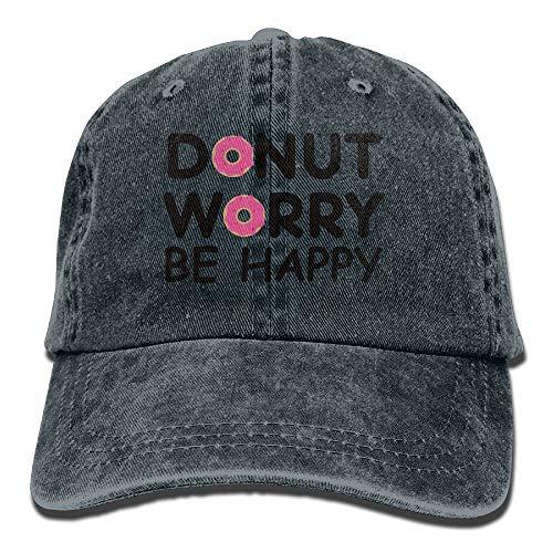 Nizefuture Donut Worry Be Happy Baseball Caps Denim Hats for Men Women (Ax-men Hat)
