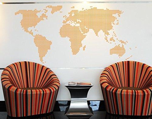 Wandtattoo No.TM27 point map karte erde punkte kontinente modern karte, Farbe:Creme;Größe:46cm x...