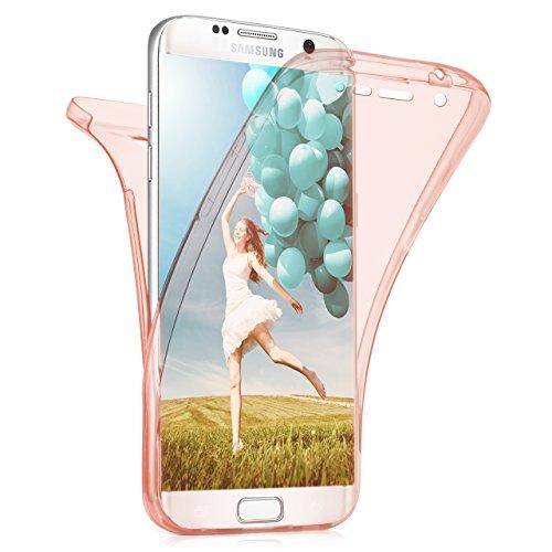 MoEx Samsung Galaxy S7 Edge Hülle Silikon Transparent 360 Grad [OneFlow Double Side Cover] Dünne Schutzhülle Slim Handyhülle für Samsung Galaxy S7 Edge Case Rosa Silikonhülle TPU