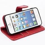 Mulbess Ledertasche im Ständer Book Case / Kartenfach für Apple iPhone SE / 5S / 5 Tasche Hülle Leder Etui,Wine Rot -