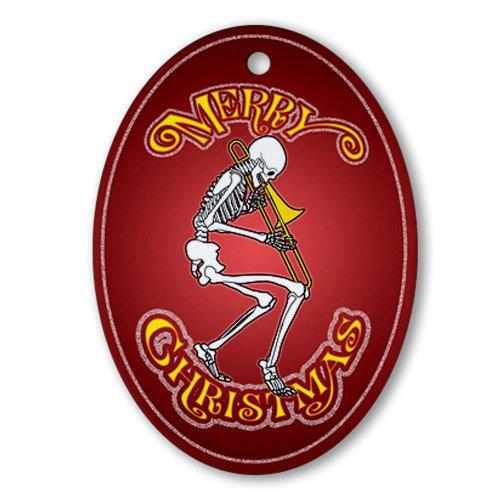 CafePress-Trombone Playing scheletro decorazione natalizia, ovale vacanza decorazione natalizia