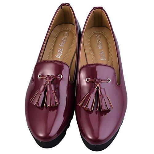 hengfeng-cuero-borla-barco-zapatos-37-eu-rojo