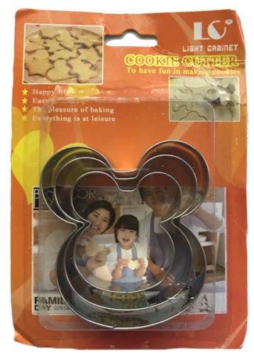 Unbekannt Mickey Mouse 3Größen Metall Cookie Cutter Set
