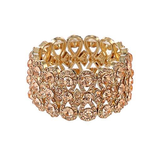 Metme 20er Jahre Acccessoires für Damen, Kristall Strass Elastic Stretch Armband Art Deco Bangles Abend Party Hochzeit Schmuck für Damen(Rose ()