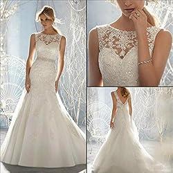 HAPPYMOOD Vestido de novia Vestido de novia Playa Larga Elegante Decoración de mujer Regalo de matrimonio Capilla Ropa de boda , XXL