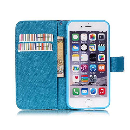 iPhone 6S Plus Hülle, iPhone 6 Plus Hülle, ISAKEN iPhone 6S Plus /6 Plus Hülle Muster, Handy Case Cover Tasche for iPhone 6S Plus / 6 Plus, Bunte Retro Muster Druck Flip Cover PU Leder Tasche Case Sch Blau Weiß Wellen Muster