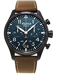 bc5cbaea0b52 Cronógrafo de cuarzo para hombre-reloj Alpina piel 372N4FBS6