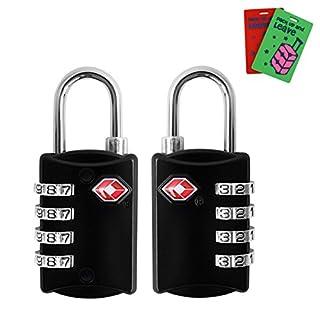 TSA Genehmigt Gepäckschlösser, Rücksetzbare 4-stellige Zahlenschlösser für Koffer mit 2 Gepäckstücken