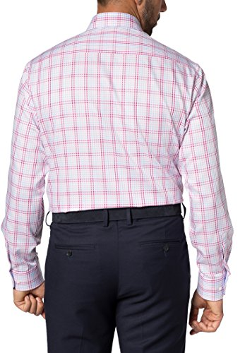 Eterna Long Sleeve Shirt Comfort Fit Twill Checked Rosa/Blu