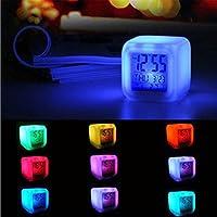 samLIKE wecker, Digital Alarm Thermometer Night Glowing Cube 7 Colors Clock LED Change (Weiß)