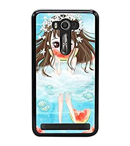 Fuson Premium 2D Back Case Cover Cute girl with water melon With red Background Degined For Asus Zenfone 2 Laser ZE500KL::Asus Zenfone 2 Laser ZE500KL (5 Inches)