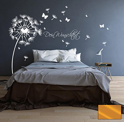 ilka parey wandtattoo-welt® Wandtattoo Wandaufkleber Pusteblume Blüten Schmetterlinge Wunschtext M1416 - ausgewählte Farbe: *Kupfer* - ausgewählte Größe:*S 100cm breit x 110cm hoch