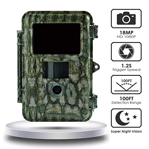 ScoutGuard Jagd Trail Game Kamera, 18 MP 1080P HD Video Digital Überwachungskamera, 30 m Wildkamera mit IR Schwarz, 5,1 cm LCD Instant Überwachungskamera