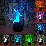 RUMOCOVO® Slam Dunk Jouer Au Basket-ball 3D LED Nuit Lumière 7 Couleurs Sport 3D Veilleuse Maison Chambre Décoration Enfant Noël Décor Cadeaux...