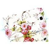 Exklusive-cad sAM-s4–mini-retro-print-blume-weiß coque de protection rigide à strass pour samsung galaxy s iV mini gT-i9195 motif floral blanc