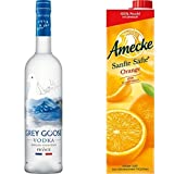 Grey Goose Wodka Original (1 x 0.7 l) mit Amecke Sanfte Säfte Orange, 6er Pack (6 x 1 l)