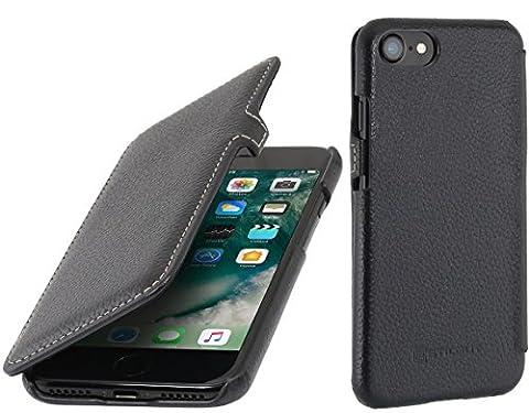StilGut Book Type avec clip, housse iPhone 7 en cuir. Etui de protection à ouverture latérale pour iPhone 7 (4.7 pouces), Noir