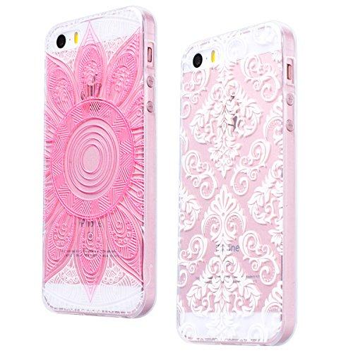 2 x GrandEver Coque iPhone 5C Transparente Transparent Silicone Gel Rubber avec Souple Fine Motif Design Bumper Utra Mice Soft Doux Flexible Case Etui Cover Housse pour iPhone 5C --- Oiseau + Mandala  Mandala Rose + Fleur