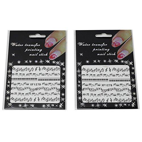 2 Pcs Autocollant Ongle Note Noir Transfert d'Eau Vernis Manucure