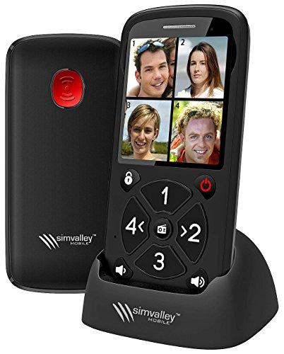 simvalley communications Seniorenhandy 5 Tasten: 5-Tasten-Senioren-Handy mit Garantruf Premium, Radio und Ladestation (Notruftelefon)