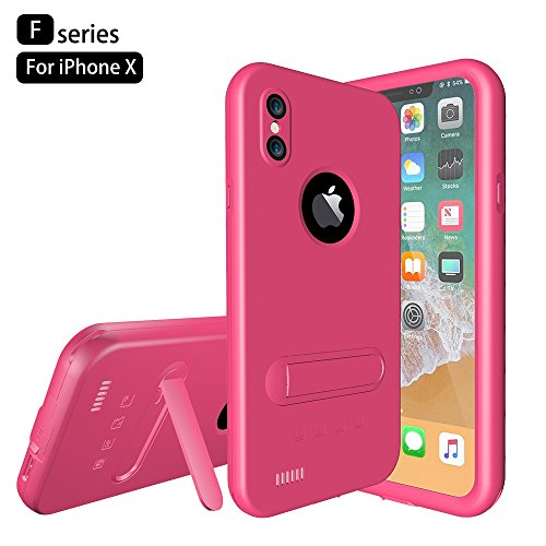 Custodia Protettiva Impermeabile Apple iPhone X, Voguecase Funda Impermeabile Cover / Case / Custodia PC + TPU Duro Rigida Ibrido con Hand Strap & Headphone Adapter (Nero) Con Stilo Penna Pink
