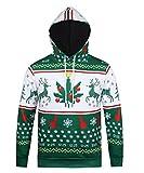 Honeystore Unisex 3D Druck Sweatshirts Weihnachten Pullover mit Cartoon Aufdruck Kapuzenjacke Langarm Top Hoodie Grün und Weiß XXL