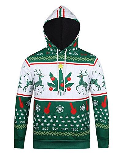 Super Kostüm Jesus (Honeystore Unisex 3D Druck Sweatshirts Weihnachten Pullover mit Cartoon Aufdruck Kapuzenjacke Langarm Top Hoodie Grün und Weiß)