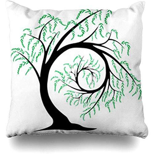 Kissenbezüge Sky Blue Willow Tree Spiraling Sich selbst Abstrakt Natur Zweig Black Botanical Clouds Drawn Home Decor Sofa Kissenbezug Square 18