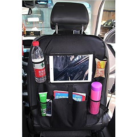 eJiasu Kick Mat Multi-Pocket BackSeat Auto Spielzeug Organizer Sitz Rücken Protektoren Auto Rücksitz Lagerung mit Touchscreen Tasche für Tabletten / ipad (Pocket Viewer)