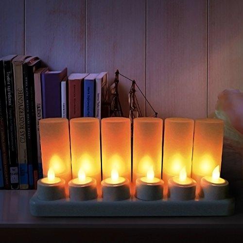 SunJas 12 LED Navidad Velas con 7 Colores Velas Recargables Sin Llama en RGB con Control Remoto Infrarrojos Velas Operadas por Batería Velas Inalámbricas para el día de San Valentín/Festivales/Bodas/A